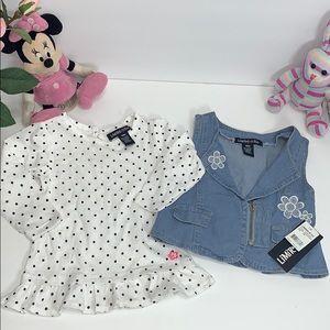 Pretty 2PC set blouse/denim vest 🦋